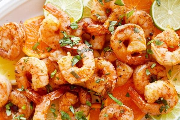 shrimp in basil sauce